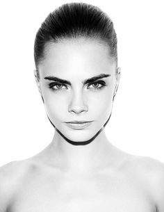 Cara Delevingne - gorgeous pulled back air and make-up.