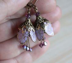 Flower earrings dangle purple lavender crystal by AmberSky on Etsy