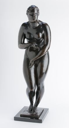 """Standing Female Figure (Gertrude Stein)"", c. 1908-1909, cast c. 1926, Elie Nadelman, American (1885-1946), bronze, 30 3/4 x 10 x 9 3/8 in. Gift of Anne and Benjamin Cone, 1972. 1972.1849"