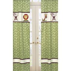 Sweet Jojo Designs Jungle Time Cotton Curtain Panels