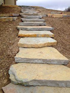 Backyard Walkway, Garden Stairs, Landscaping A Slope, Landscaping With Rocks, Landscape Stairs, Outdoor Steps, Sloped Garden, Garden Paths, Outdoor Gardens