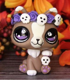 Littlest Pet Shop cat skull flower crown OOAK Custom figure LPS Day of Dead Ghot #Hasbro