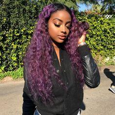 ⁶тнє ριи gσ∂∂   @ℓιи∂αχ∂σℓℓ {fσℓℓσω тσ ѕєє мσяє} Purple Wig, Hair Color Purple, Cool Hair Color, Purple Hair Black Girl, Purple Weave, Black Wig, Green Hair, Dark Purple, Hair Colors