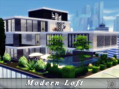 Modern Loft by for The Sims 4 Sims 4 Modern House, Modern Loft, Modern House Design, Lotes The Sims 4, Sims Cc, Sims 4 Penthouse, Sims 4 Loft, Sims 4 Beds, Sims 4 House Building