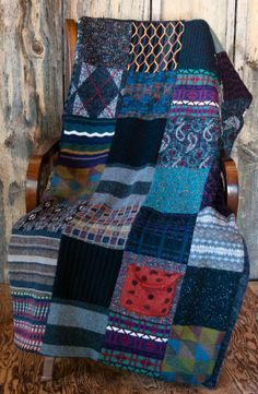 Ideas For Patchwork Blanket Knitted Recycled Sweaters Sweater Quilt, Old Sweater, Sweater Blanket, Wool Quilts, Rag Quilt, Recycled Sweaters, Wool Sweaters, Pullover Upcycling, Recycling