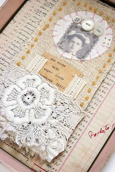 Heritage page made with vintage ledger, stitched fabric, lace and buttons.