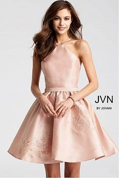 JVN by Jovani Homecoming Champagne Fit and Flare Sleeveless Short Dress Casual Dresses, Short Dresses, Fashion Dresses, Formal Dresses, Fancy Dress Short, Embellished Shorts, Champagne Dress, Special Occasion Dresses, Homecoming Dresses