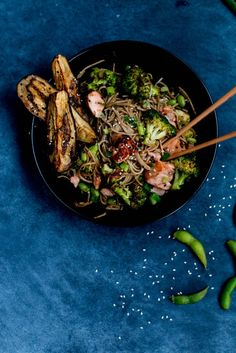 Miso Salmon, Eggplant & Soba Noodle Stir-fry is on the table in 20-30 minutes!