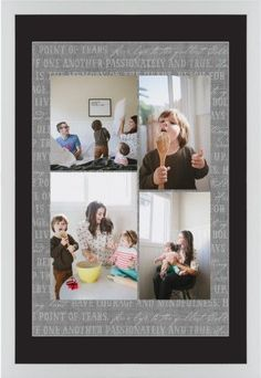 Overlap Photo Gallery of Four Framed Print, White, Contemporary, White, Black, Single piece, 20 x 30 inches