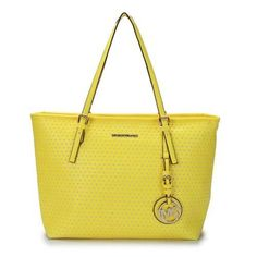 Michael Kors Jet Set Perforated Travel Medium Yellow Totes Outlet