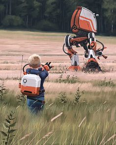 Robots and Landscapes Sci Fi Art by Simon Stalenhag