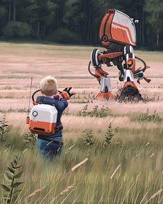 Robots and Landscapes Sci Fi Art by Simon Stalenhag