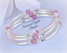Swarovski Bracelet, Silver Bangle Bracelets, Ankle Bracelets, Crystal Bracelets, Bracelet Set, Crystal Jewelry, Bracelet Making, Swarovski Crystals, Jewelry Making