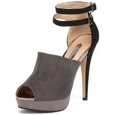 Grey ankle strap sandals