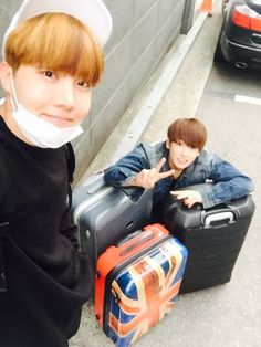"J- Hope and Jungkook ❤ ""다녀오겠슈"" ~ ""We'll go and come back safely"" #BTS #방탄소년단"