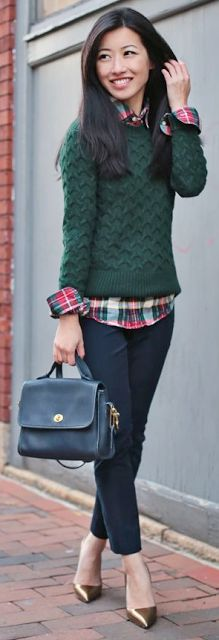 Green sweater with plaid holiday button down...