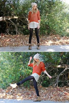 Cropped sweater over long tunic over leggings and boots