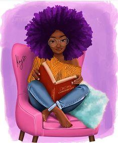 Big Hair and a Big Book - Princess Kay Art Black Love Art, Black Girl Art, Black Girl Magic, Afro Hair Art, Art Beauté, Drawings Of Black Girls, Girl Drawings, Natural Hair Art, Black Girl Cartoon