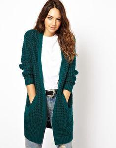 Dark Green Two Pockets Front Stylish Cardigan Knit Fashion, Sweater Fashion, Fashion Outfits, Fall Fashion, Crochet Jacket Pattern, Pullover Mode, Cardigans For Women, Women's Cardigans, Crochet Clothes