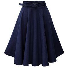 Dark Blue Solid Color Elastic Waist A Line Midi Denim Skirt ($28) ❤ liked on Polyvore featuring skirts, high-waisted skirts, knee length denim skirt, high waisted circle skirt, a line skirt and blue a line skirt
