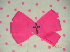 Pink Fleur De Lis and Cross Barrette by jjpolcreations on Etsy, $4.50