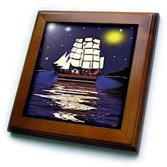 SmudgeArt Flood Art Ship Designs - A Nautical Dream - SmudgeArt Ship Art - Framed Tiles :           A Nautical Dream - SmudgeArt Ship Art Framed Tile is measuring 8w x 8h x .75d. Made of solid wood with predrilled keyhole for easy wall mounting. Framed tile comes with 6w x 6h ceramic gloss tile attached to the wood frame.                           **Read more Details : http://gethotprice.com/appin/?t=B0046DGM8Q