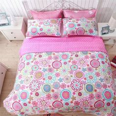 New Cozy Line Home Fashions Mariah Pink Polka Dot Colorful Reversible Quilt Bedding Set, Coverlet, Bedspreads (Full/Queen - 3 Piece: 1 Quilt + 2 Standard Shams) online shopping - Nanakoshopping Green Bedding, Floral Bedding, Pink Bedding, Quilt Bedding, Cute Bedding, Kids Bedding Sets, Girls Bedspreads, Unicorn Duvet Cover, Urban Outfitters