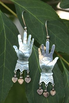 Sterling Silver Hand Earrings, like Frida Kahlo's from Picasso, All Seeing Eye  #MariaElen