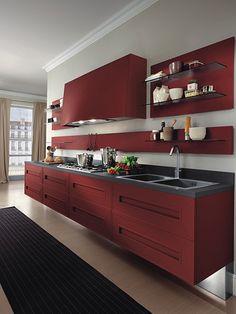 modern red kitchen cabinet