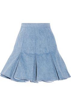 Balmain|Pleated denim mini skirt