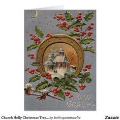 Church Holly Christmas Tree Gold Horseshoe