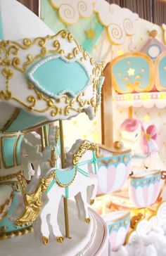 Carousel Cake Topper from a Carousel Birthday Party via Kara's Party Ideas | KarasPartyIdeas.com (8)