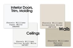 Paint colors to sell your home.       For walls, I use Sherwin Williams Accessible Beige. or Sherwin Williams Naturel in Eggshell finish.      For interior doors, molding, and trim, I use Sherwin Williams Super White in Semi-gloss finish.      For ceilings, I use Sherwin Williams Ceiling Bright White (it's a Flat finish).      Don't forget to paint INSIDE the closets.