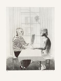 David Hockney, 'Artist and Model' Etching and aquatint, 1974.