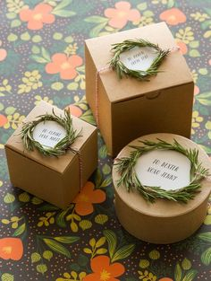 Rosemary wreath gift toppers.