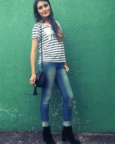 Look básico - listras e ankle boot - diariodajoyce.wordpress.com