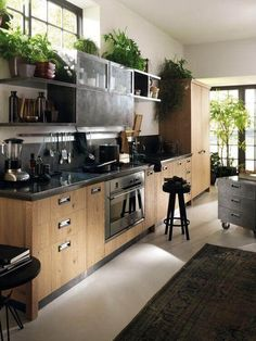 Are You Inspired? Visit Us For More Industrial Kitchen Inspirations Industrial Kitchen Design, Industrial House, Industrial Interiors, Interior Design Kitchen, Vintage Industrial, Industrial Bedroom, Industrial Bookshelf, Industrial Windows, Industrial Apartment