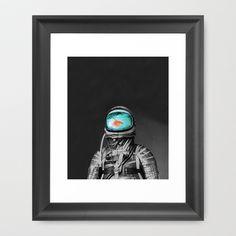 Underwater astronaut Framed Art Print by Budi Satria Kwan - $37.00