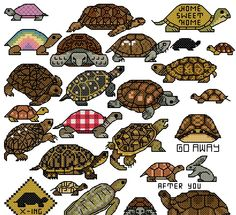 """turtle, tortoise I like the one that says """"go away"""" lol  To get the chart, click on the first line under the photo"""