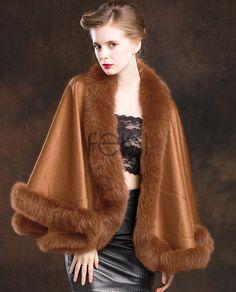 Real Fur Coat & Jacket | Real Fur Coat & Jacket | Fox Trimmed Cashmere Cape | SKU-ffcafo138b | Fur Shop Online Coats For Women, Clothes For Women, Cashmere Poncho, Wedding Cape, Fox Fur Coat, Fur Trim, Jackets, Outfits, Collections