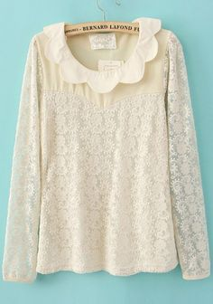 Lace Long Sleeve Scallop Collar Contrast Beige Panel Blouse