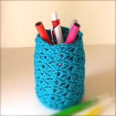 Pen Holder Jar in Turquoise  Pen Holder Tidy by Pyroangelcrochet