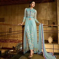 Buy Sky Blue Georgette Designer Suit for womens online India, Best Prices, Reviews - Peachmode