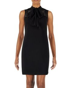 Tie Neck Illusion Shift Dress- black, chic, mid length, date night, cocktail dress, my style
