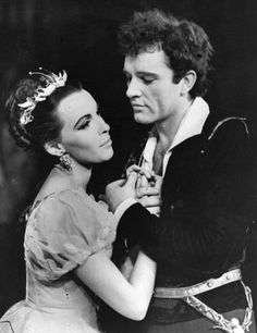 1953 - Claire Bloom as Ophelia and Richard Burton as 'Hamlet' @ the Old Vic theatre.  Photo by Keystone, Getty Images.