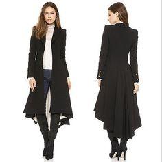 New Womens Ladies Autumn Winter Long Black Windbreaker Trench coat Outerwear