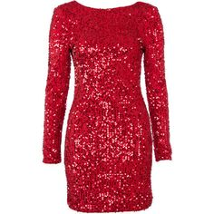 Red Sequin Long Sleeve Bodycon Dress ($45) ❤ liked on Polyvore