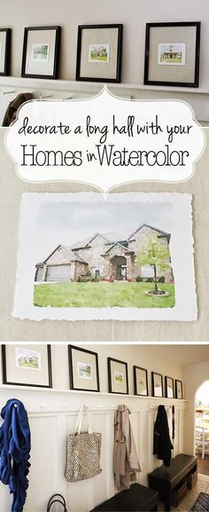 Watercolor Houses for a Long Hallway; Moved a lot? Want to decorate a long hallway? Yes? Then this is the answer.