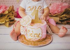 Beautiful outfit, colors, and cake for one year old cake smash photographs.
