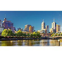 Melbourne Skyline in Setting Sun Photographic Print
